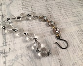 Reserved for Lacey - Vintage Charm Stacker Bracelet - Rhinestones Clear Beads