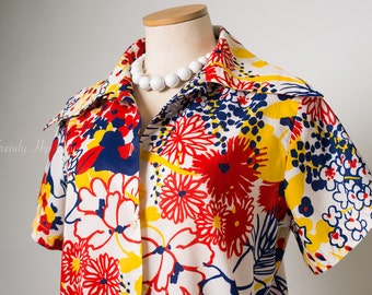Vintage Floral Top, 60s Top, Mad Men top, Abstract Top, Blue Red yellow Top, Mod 60s Top - L/XL