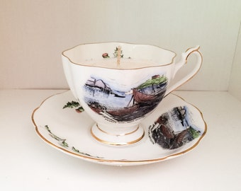 Peggy's Cove, Nova Scotia Vintage Tea Cup Candle *Made with UNSCENTED SOY WAX*