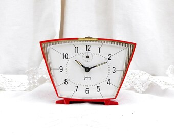 Working Vintage Mid Century French Japy Red Mechanical Alarm Clock / European / Wind-up Clock / Retro Vintage Home Interior / Design Bedroom