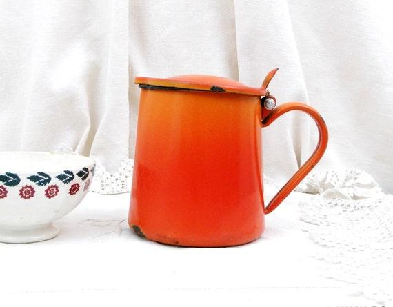 Vintage French Chippy Bright Orange Enamel Pitcher, French Country Decor Enamelware Milk Jug, Retro Kitchenware from France