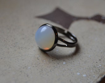Opalite moonstone ring, white stone black gothic ring, opalite ring, imitation moonstone ring, opalite jewelry, opal gothic ring