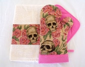 Resting in Roses Skulls Roses Oven Mitt Pot Holder Set Pink Pin Dot Trim with optional towel