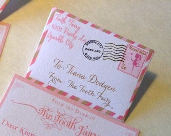 Pinks and Brown Set of 20 Tiny Tooth Fairy letters and Envelopes from Tooth Fairy