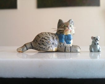 Vintage Cat and Mouse Duo / Cat with Whiskers / Clay Cat with Whiskers