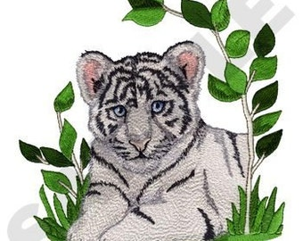 White Tiger Cub Embroidered on Made-to-Order Pillow Cover
