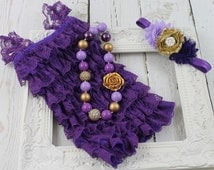 Purple Gold 1st Birthday Outfit Purple Lace Romper Purple Gold Chunky Necklace Purple Gold Headband  Purple Gold Cake Smash Sofia 1st Outfit