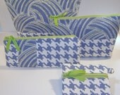 NEW Zipper Pouches, Women Cosmetic Bags, Blue Citron Green Ivory, Houndstooth, Pencil Pouch, Coin Purse, Organizers, Teen, Back To School