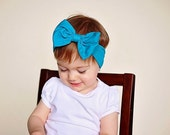 Teal Head wrap,  Bow Headband. Baby girl, newborn , Headwrap turban boho cotton