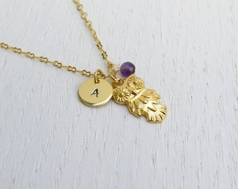 Gold owl necklace, Personalized initial necklace, Hand stamped initial necklace