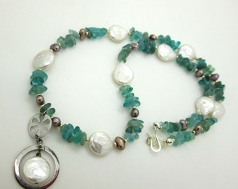 Pale Blue Aquamarine and Freshwater Pearl Necklace, Summer Necklace, Beachwear, Summer Jewelry, Women's Jewelry