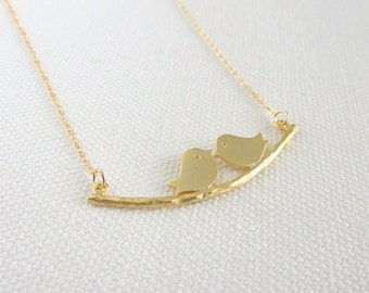 Gold Birds on Branch Necklace, 14k Gold FIll Modern Dainty Jewelry, Simple Modern Everyday Cute, Bridesmaid