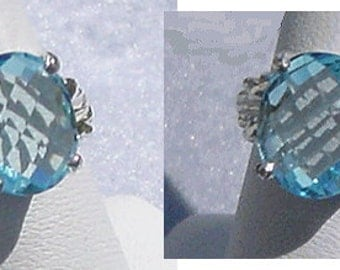 Lovely SKY BLUE TOPAZ Checkerboard Cut Sterling Ring Sz 6.75