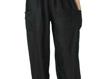 Black unisex pants Hippies pants Boho pants Yoga Pants one size fits Elastic Waist Clothing Beach Women Baggy Casual