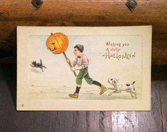 SALE reg 39.00 - Halloween Antique Postcard, UNUSED, c 1910, Jolly Halloween, Jack O Lantern Pumpkin on a Stick Little Boy, Vintage Postcard