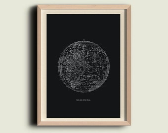 Moon Print  Vintage Image Dark Side of the Moon