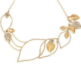 Gold Plated Pavé  Textured Leaves Drama Necklace