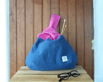 Knot bag - recycled denim pink canvas bag project bag