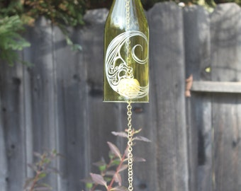Moon Wine Bottle Windchime - Bottles Patio Yard Glass Beach Wedding Decoration Personalization Outdoor Night Sky Chime Star Rememberance