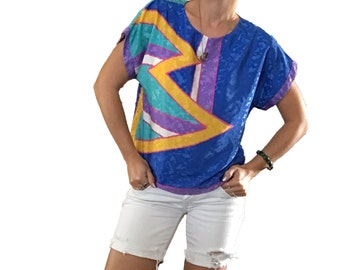 Colorful Silky Blouse/ Silky Top/ Blue Blouse/ Yellow Blouse/ Purple Blouse/ Eighties Top/ Color Blocked Top/ Vintage Eighties Blouse