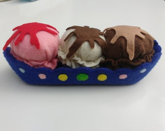Felt ice cream sundae/ banana split