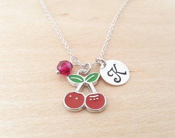 Cherry Necklace -  Cherries Charm - Birthstone Necklace - Personalized Gift - Initial Necklace - Sterling Silver Jewelry - Gift for Her