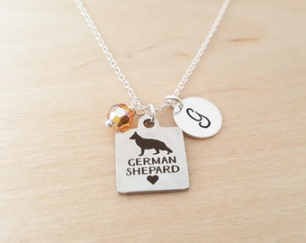 German Shepard Necklace - Dog Charm - Swarovski Birthstone - Personalized Gift - Initial Necklace -Sterling Silver Jewelry - Gift for Her