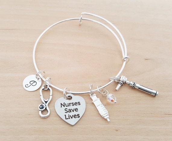 Nurses Save Lives Bracelet - Nurse Gift - Personalized Bracelet - Adjustable Bangle - Birthstone Bracelet - Personalized Jewelry