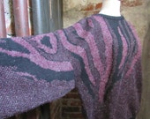 80s Oversized Batwing Shimmering Purple Feather Knit Sweater by Colore, L-XL // Vintage Italian Glam Jumper