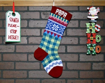 Personalized Plaid Christmas Stocking, Hand Knit with Red Cuff, and White Snowflake, Wedding Gift, Baby Shower Gift, Housewarming Gift