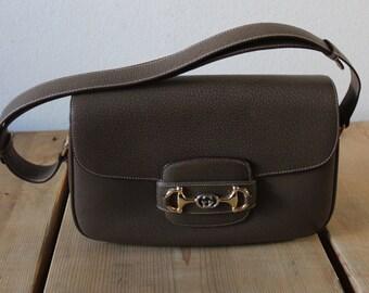 Vintage 1970s Classic Grey Brown Shoulder Purse
