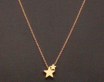 Dainty Two Star Necklace, Two Tiny Gold Stars, Fine Chain, Delicate Necklace