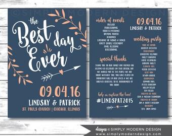 the best day ever, wedding program, ceremony, wedding fan, program fan, PRINTABLE or PRINTED PROGRAMS