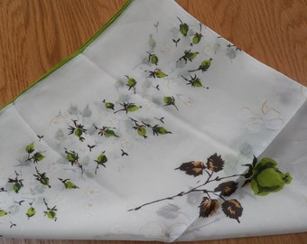 Gorgeous Vintage Sheer Stem GREEN ROSES Head Neck SCARF~Green/White/Brown