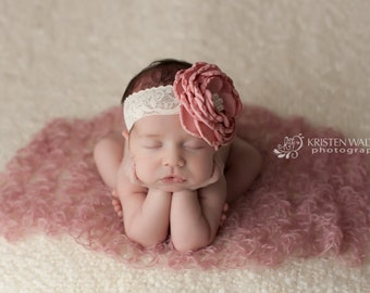 FREE SHIPPING! Pink Baby Headband, Pink Headbands, Newborn Headbands, Large Pink Headbands, Baby Headbands, Photography Prop