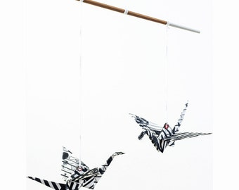 Black and white mobile, black & white nursery, first baby gift mobile, origami crane mobile, fabric crib mobile, unisex baby shower decor