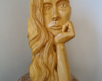 Large carved wood sculpture - Wood carving -  Wood spirit - Wood sculpture - Female wood spirit - Female sculpture - Carved wood, Wooden art