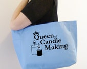 Candlemaking themed tote bag - candlemaking themed gift - polyester tote bag - original design candlemaking craft bag - candlemaking tote