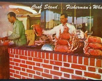 San Francisco Crab Stand, Fisherman's Wharf, Vintage Postcard, 1960s