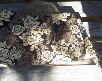 Brown Floral Wristlet - Clutch Handbag Purse - Victorian Flower - Brown Tan Beige Black Paisley Decoration - Swoon Coraline