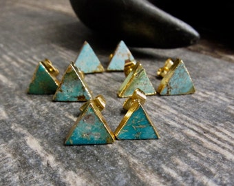 Turquoise Earrings,Turquoise Earrings Gold,Turquoise Stud Earrings,Turquoise Studs,Turquoise Post Earrings,Turquoise Jewelry,Triangle Studs