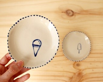 Ice cream drawing plates Popsicle ice cream Stoneware handbuilt little plates Cobalt blue glaze  - Ready to ship