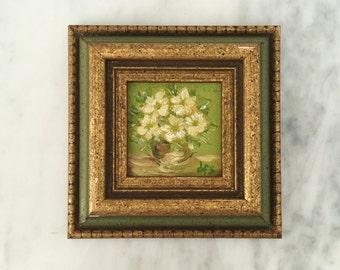 Vintage Floral Decor, Wall Decor, Gold Framed Art, Gallery Wall, Green Gold Wall Decor, Vintage Painting