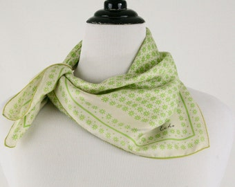 1960s Echo Lime Green Daisy Square Silk Scarf