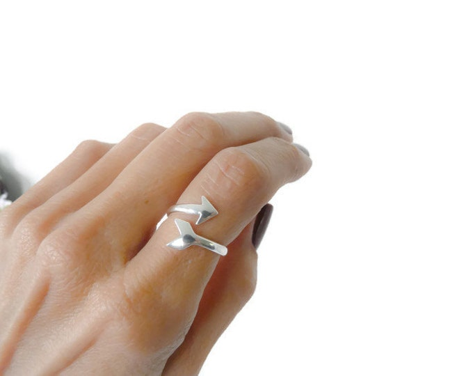 Sterling Silver Index Ring Adjustable Arrowhead Ring For Women