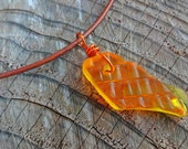 Urban Beach Glass Drilled Yellow Orange Necklace - Leather Cord - Bronze