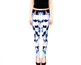 White Yoga Leggings / White and Blue Print Leggings / Premium Leggings / Yoga Leggings / Printed Yoga Leggings