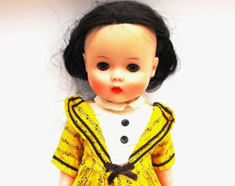 RARE 1950s Ruthie Horsman Doll Vintage Vinyl Brunette Little Miss Moppet Old Fashioned Girl with Yellow, Black, White Button Dress & Panties