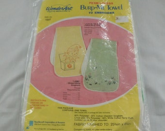 Vintage Baby Burp Cloth Towel stamped embroidery KIT wonderart new