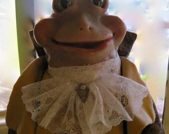 Dandy Frog Character doll dressed in Regency style by Beau Brummel